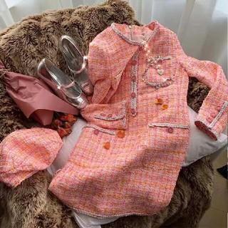 シャネル(CHANEL)の超美品 Chanel ワンピース 新品 ピンク(ひざ丈ワンピース)