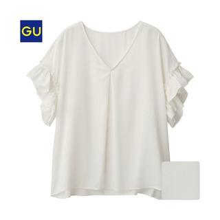 ジーユー(GU)の新品未使用★GU★サテンラッフルブラウス(半袖)NU★ホワイト白フリル(シャツ/ブラウス(半袖/袖なし))