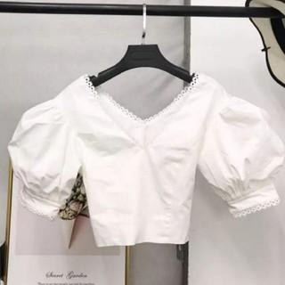 ザラ(ZARA)のVカットパンチレーストップス(シャツ/ブラウス(半袖/袖なし))