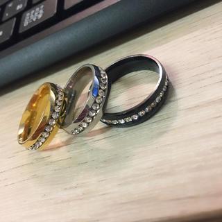10号~31号サイズ充実!輝くスワロ1連巻きサージカルテンレス製リング指輪(リング(指輪))
