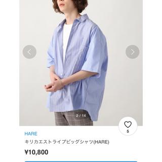 HARE - ストライプ切り替えシャツ ビッグシルエット