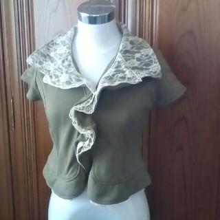 シマムラ(しまむら)の襟がレースの半袖ジャケット☆カーキ色(テーラードジャケット)
