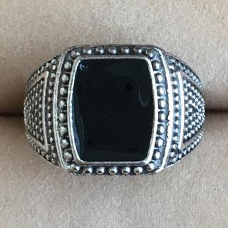 (111)オニキス風 ブラックのトップの幅広リング シルバー ヴィンテージ(リング(指輪))