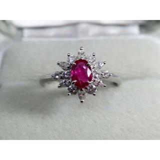 Pt900 ルビー0.65ct ダイヤモンド0.55ctリング 指輪 鑑別書付き(リング(指輪))