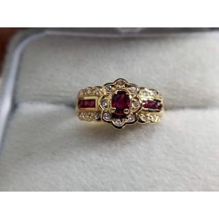 K18 ルビー/ダイヤデザインリング  指輪 鑑別書付き(リング(指輪))