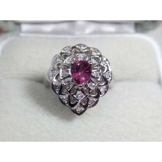 Pt900 パープルサファイア0.80ct ダイヤモンド0.13ctリング 指輪(リング(指輪))