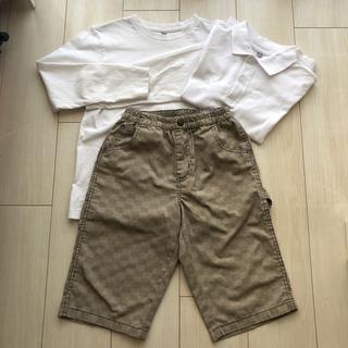 ユニクロ(UNIQLO)の3点セット☆140㎝☆ユニクロポロシャツ&ユニクロロンT☆ハーフパンツ(Tシャツ/カットソー)