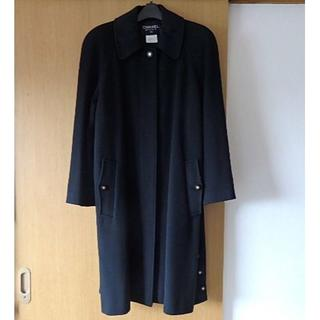 シャネル(CHANEL)の正規品 CHANEL ロング丈 チェスターコート ブラック ココマーク 40定価(ロングコート)