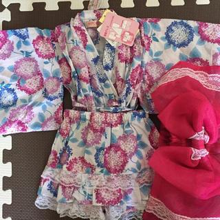 シマムラ(しまむら)の浴衣 ベビー 女児 80 新品 紫陽花柄 ブルー ピンク フリル(甚平/浴衣)