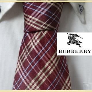 BURBERRY - 最高峰★バーバリー英国BURBERRY【チェック柄】高級ネクタイ★クリーニング済