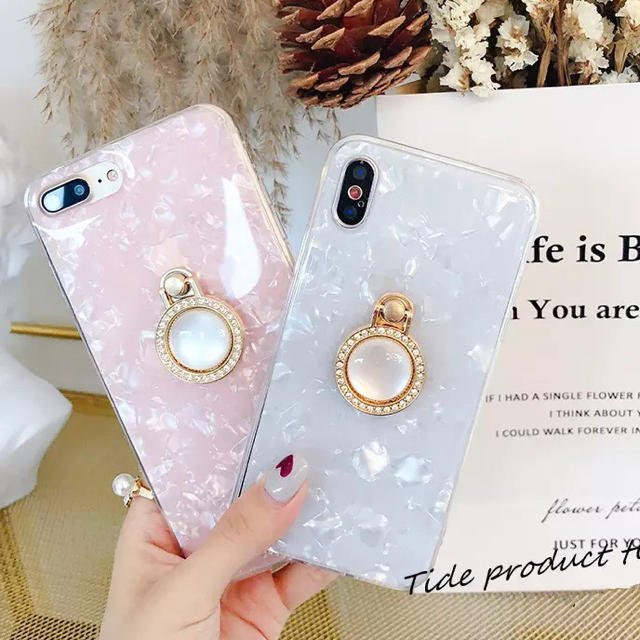 iphone8 ケース おもしろい | シェル貝殻 iPhoneケース パールピンクiPhone  XRの通販 by 購入前にコメント在庫確認|ラクマ