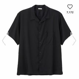 GU - gu ジーユー シャツ 黒 ブラック オープンカラー