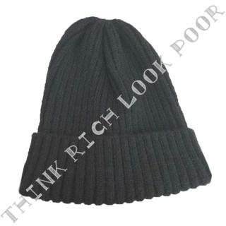 シンプルニット帽◇ブラック/送料無料