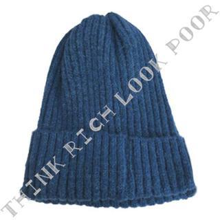 シンプルニット帽◇ブルー/送料無料