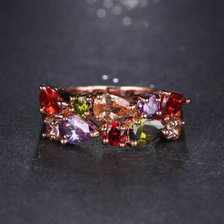 AAAランク ダイヤモンドcz マルチカラー リング 指輪 ピンクゴールド (リング(指輪))