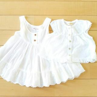 女の子 90 白 ワンピース&半袖 セット
