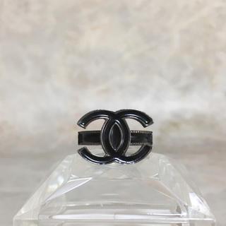 CHANEL - 正規品 シャネル 指輪 ココマーク ブラック シルバー ロゴ 黒 銀 リング