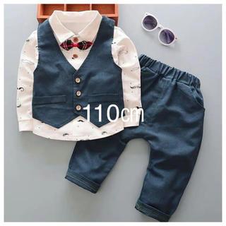f6a469b8ec1b8 男の子 フォーマル スーツ セットアップ キッズ 長袖 ブルー ベスト 服(ドレス フォーマル)