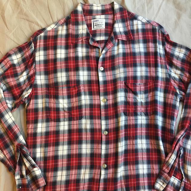 Ron Herman(ロンハーマン)の60s SEARS オンブレ レーヨンシャツ 赤黒 Lサイズ 16-16 1/2 メンズのトップス(シャツ)の商品写真