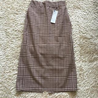 ジーユー(GU)のmomuさま GU  ウエストリボンチェックナローミディスカート(ひざ丈スカート)