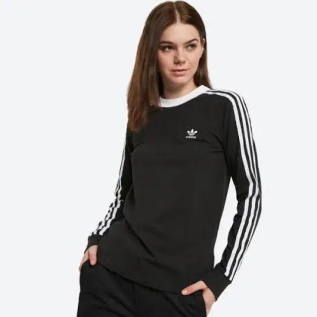 adidas(アディダス)のアディダス オリジナルス 3ストライプス 長袖 Tシャツ 黒 XXL 新品未使用 レディースのトップス(Tシャツ(長袖/七分))の商品写真