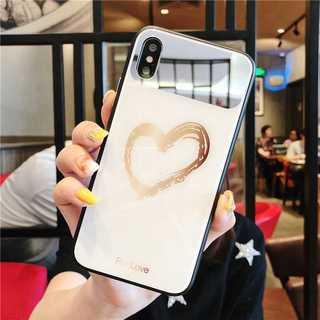 背面ガラス ミラー iPhone8/7 ケース ハート 鏡 ホワイト