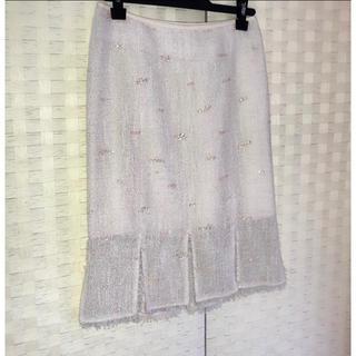 エポカ(EPOCA)のEPOKA エポカ :スカート スリット フリンジ スパンコール 新品未使用(ひざ丈スカート)
