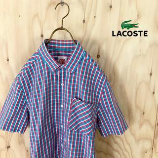LACOSTE L!VE - 【美品】LACOSTE LIVE! モザイクチェック シャツ レッド ブルー系