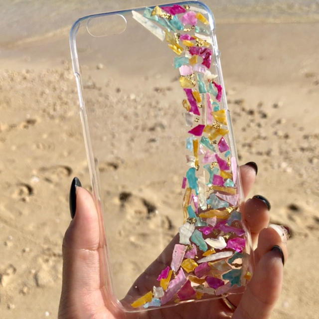 iphone xr カード ケース / アイフォンケース ハンドメイド 貝 カラフル 派手 きらきら 夏の通販 by nasshop|ラクマ