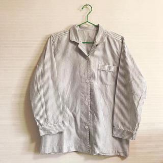ムジルシリョウヒン(MUJI (無印良品))の無印 パジャマ シャツ ストライプ 灰色 綿 MUJI(パジャマ)