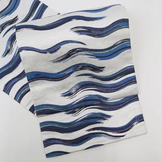 《作家物阿波藍天然染め■波模様袋帯■六通柄■淡グレー◆正絹着物◆FA12-16》(帯)