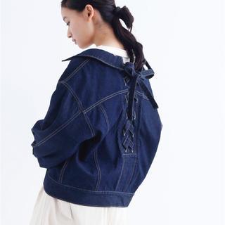 メルロー(merlot)のmerlot メルロー 後ろ編み上げデニムジャケット(Gジャン/デニムジャケット)