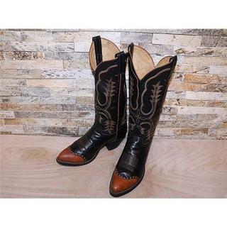 トニーラマ(Tony Lama)のトニーラマ  リザード革 ウエスタンブーツ 黒×茶 2525,5cm(ブーツ)