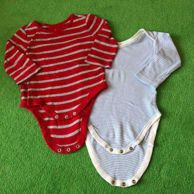 babyGAP(ベビーギャップ)のベビーギャップ ボーダーロンパース キッズ/ベビー/マタニティのベビー服(~85cm)(ロンパース)の商品写真