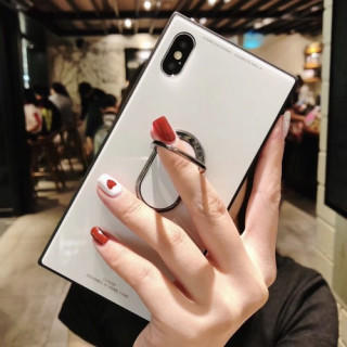 iPhone7 iPhone8 白 ケース バンカーリング付き 光沢ガラスケース