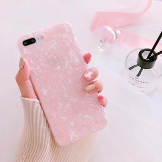 iPhone7 iPhone8 シェル 貝殻模様 ピンク ソフトケース