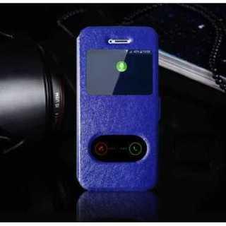 スマホケース ブルー iphone X 手帳型 窓付き スタンド シンプル 保護