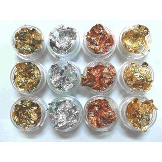 金箔 銀箔 銅箔 混箔 12個セット パーツ カラージェル ネイル