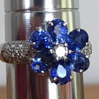 ポンテヴェキオ(PonteVecchio)のポンテヴェッキオブルーサファイアダイヤモンドリング3カラットUP(リング(指輪))
