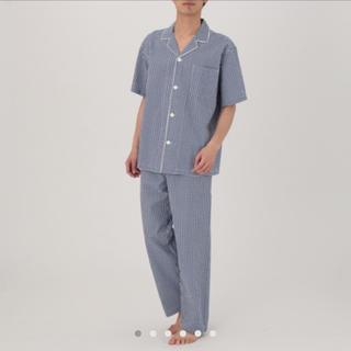 MUJI (無印良品) - 脇に縫い目のない サッカー 半袖パジャマ・紳士L