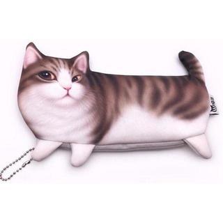 キジ白 猫 ネコ プリント 柄 ペンケース ボールチェーン付き かわいい