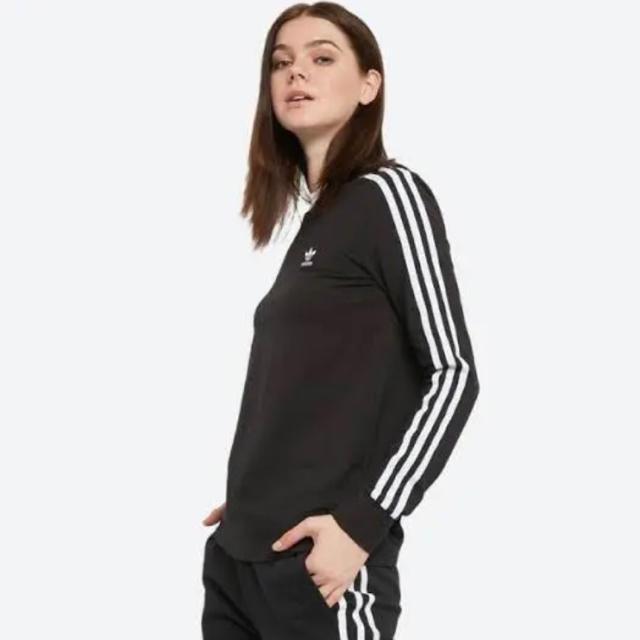 adidas(アディダス)のアディダス オリジナルス 3ストライプス 長袖 Tシャツ 黒 XS レディースのトップス(Tシャツ(長袖/七分))の商品写真