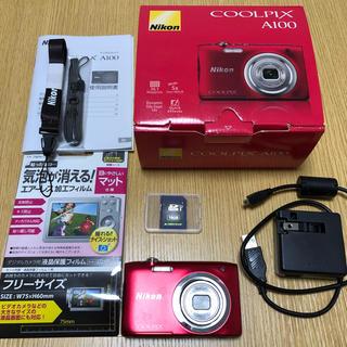 Nikon - 美品 デジカメ Nikon COOLPIX A100 赤 レッド