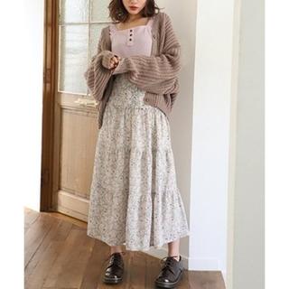 完売♡ナイスクラップのヴィンテージ花柄ティアードスカート アイボリー
