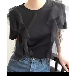 ZARA - ブラック ホワイト チュールTシャツ トップス フリル