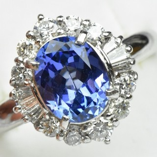 綺麗なタンザナイト 2.24ct ダイヤモンドリング 16号 指輪  (リング(指輪))