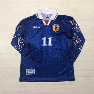 adidas - 1997年 日本代表 三浦知良 選手支給 長袖 ユニフォーム 11番 炎モデル