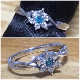 ネオンブルー❗️パライバ&ダイヤモンドリング 指輪 10号 簡易鑑別付 (リング(指輪))