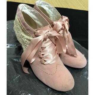 EDWIN - ミスエドウィン☆レースとリボンが可愛いピンクのショートブーツ