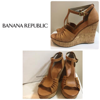 バナナリパブリック(Banana Republic)のバナナリパブリック  ブラウンレザー  ウエッジサンダル(サンダル)